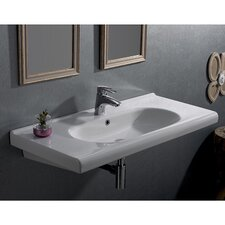 City Rectangle White Ceramic Wall Mounted or Self Rimming Sink with Overflow
