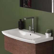 Rectangle White Ceramic Wall Mounted or Self Rimming Sink with Overflow