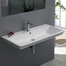 Arica Rectangle White Ceramic Wall Mounted or Self Rimming Sink with Overflow