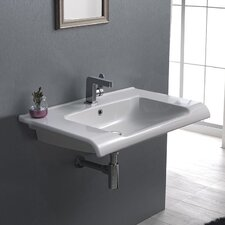 Anova Rectangle White Ceramic Wall Mounted or Self Rimming Sink with Overflow