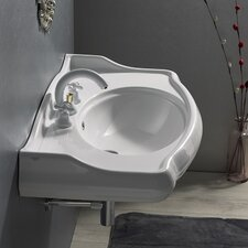 1837 Rectangle White Ceramic Wall Mounted Sink with Overflow