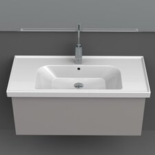 Frame Rectangle White Ceramic Wall Mounted or Self Rimming Sink with Overflow