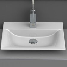Rectangle White Ceramic Wall Mounted or Vessel Sink with Overflow