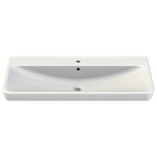 Belo Rectangle White Ceramic Wall Mounted or Self Rimming Sink with Overflow