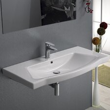 Argona Rectangle White Ceramic Wall Mounted or Self Rimming Sink with Overflow