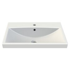 Elite Rectangle White Ceramic Wall Mounted or Self Rimming Sink with Overflow