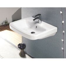 Noura Plus Rectangle White Ceramic Wall Mounted or Self Rimming Sink with Overflow