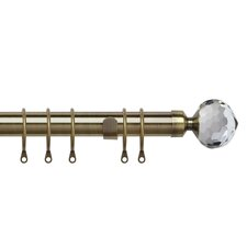 Pristine Crystal Extendable Single Curtain Rod and Hardware Set