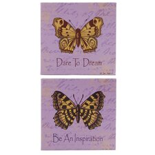 2 Piece Butterfly Purple Box Signs Wall Decor Set
