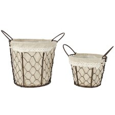 2 Piece Wire Basket With Fabric Handles Set (Set of 2)