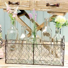 Wire Basket With 5 Assorted Size Glass Bottles