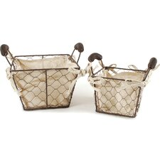 2 Piece Square Wire Fabric Basket With Handles Set