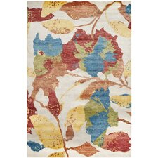 Tibetan Hand-Knotted White/Multi-Colored Area Rug