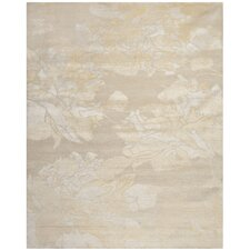 Hand-Knotted Creme/Yellow Area Rug