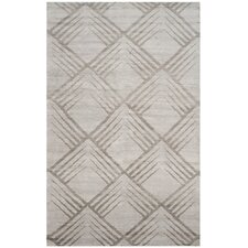 Tibetan Hand-Knotted Silver Area Rug