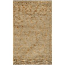 Tibetan Hand-Knotted Green/Gold Area Rug