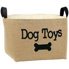 """""""Dog Toys"""" Burlap Storage Basket"""
