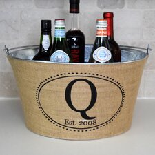 Oval Monogram Burlap Beverage Tub