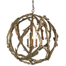 Driftwood 3 Light Candle Chandelier