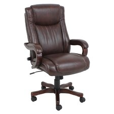 High-Back Wooden Leather Executive Chair with Arms