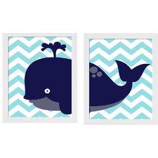 2 Piece Whale Framed Art Set