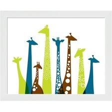 Giraffes Landscape Framed Art
