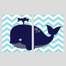 2 Piece Whale Paper Print Set