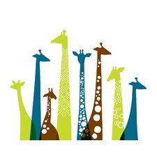 Giraffes Landscape Paper Print Art