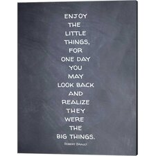 'Enjoy the Little Things' by Susan Newberry Textual Art on Canvas in Black and White