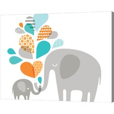 Elephant and Baby in Blue and Orange by Jeanie Nelson Original Painting on Wrapped Canvas