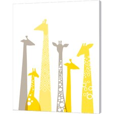 Giraffes in Yellow and Gray by Jeanie Nelson Original Painting on Canvas