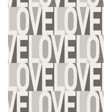 "Love 33' x 20.5"" Typographic Wallpaper"