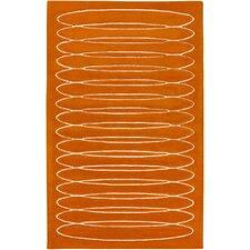Solid Bold Burnt Orange Area Rug