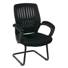 Screen Back Contour Shell Sled Base Guest Chair with Padded Arms