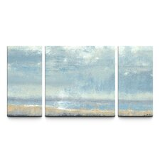 Shoreline View Textured 3 Piece Painting Print on Canvas Set