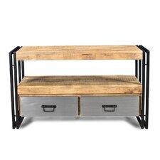 Handmade Reclaimed Metal 2 Drawer Wood TV Cabinet
