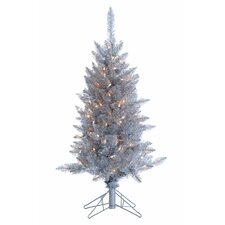 4' Silver Tiffany Tinsel Christmas Tree with 150 Clear Lights with Stand