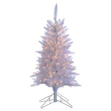 4' White Tiffany Tinsel Christmas Tree with 150 Clear Lights with Stand