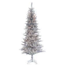 7.5' Silver Tiffany Tinsel Christmas Tree with 450 Clear Lights with Stand