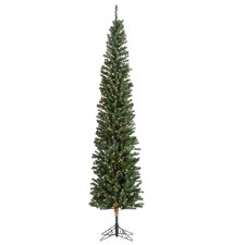 9' Green Pencil Fir Christmas Tree with 450 Clear Lights with Stand