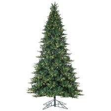 9' Green Longwood Pine Christmas Tree with 900 Clear Lights with Stand