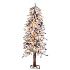 4' Alpine Christmas Tree with 100 Clear Lights with Flocked and Stand