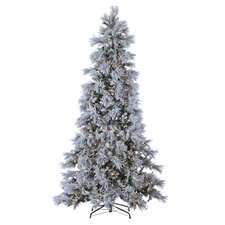 9' Green Pine Artificial Christmas Tree with 900 LED Cool White Lights and Snowy Branches