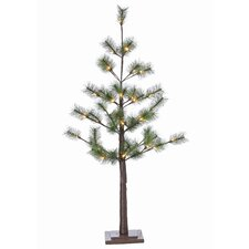 4' Green Pine Artificial Christmas Tree with 36 Incandescent Warm White Lights Includes Stand