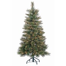 4.5' Green Pine Artificial Christmas Tree with 150 Incandescent Clear Lights