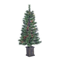 3.5' Green Artificial Christmas Tree with 50 Incandescent Lights in Pot