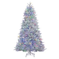 7.5' Silver Pine Artificial Christmas Tree with 600 LED Warm White/Multicolor Lights