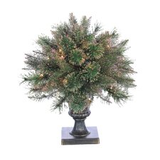 Lighted Potted Fiber Optic Round Tapered Topiary in Urn