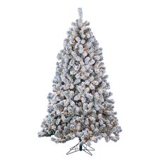7' Green Pine Artificial Christmas Tree with 500 Incandescent Clear Lights and Snowy Branches