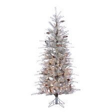 6' Sage Artificial Christmas Tree with 300 Incandescent Clear Lights and Frosted Branches